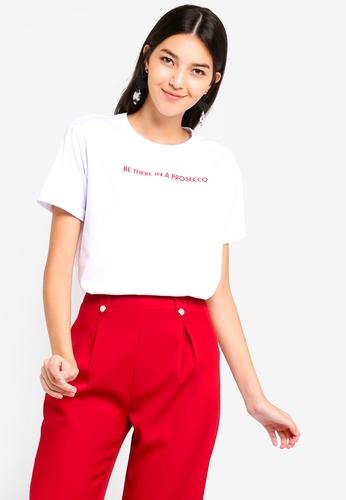 ZALORA 白色 短袖印花T恤 94799AA3CB488BGS_1