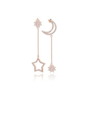 Glamorousky 白色 時尚簡約鍍玫瑰金月亮星星流蘇不對稱耳環配鋯石 916CBAC00262FAGS_1