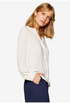 V-Neck Blouse With Woven Polka Dots
