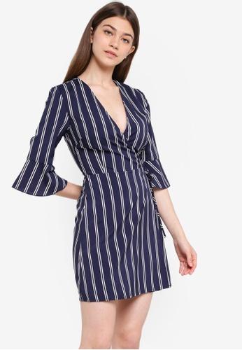 Something Borrowed navy Fluted Sleeves Wrap Dress 99AFBAAEAA5756GS_1