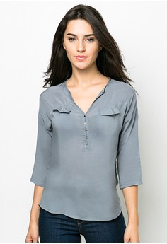 Solid Color Quarter Sleeves Top