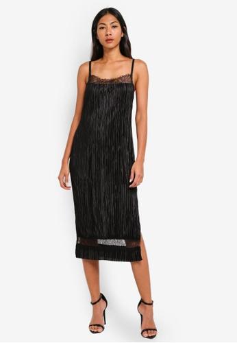 River Island black Plissé Lace Trim Slip Dress 47D07AA2178BF2GS_1