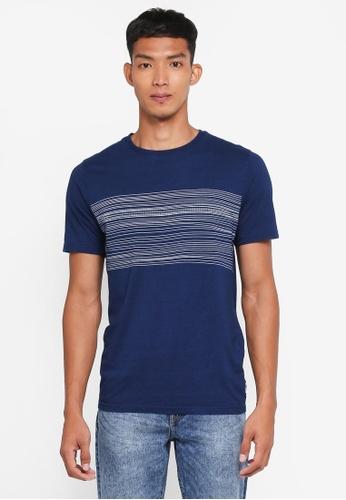 Only & Sons 藍色 短袖條紋拼接T恤 8DC9BAA16F98C6GS_1