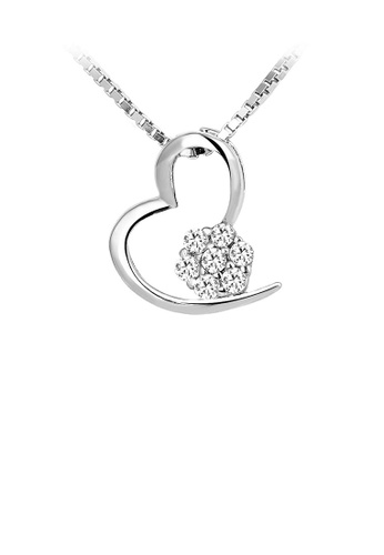 Glamorousky white Simple 925 Sterling Silver Heart-shaped Pendant with White Austrian Elements Crystal and Necklace 1F5C8AC0738AADGS_1