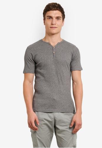 Indicode Jeans grey Emanuel Ribbed Grandad T-Shirt IN815AA0ROMCMY_1