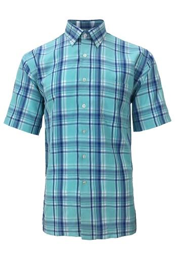 Pacolino blue Pacolino - Korea Polynosic Wrinkle Free Checker Formal Casual Short Sleeve Men Shirt 4A26BAA9E10579GS_1