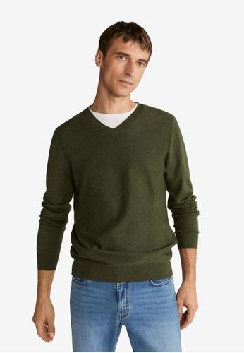 Mango Man 綠色 紋理棉Cashmere-Blend Sweater 8DC2BAAD7AB5BEGS_1