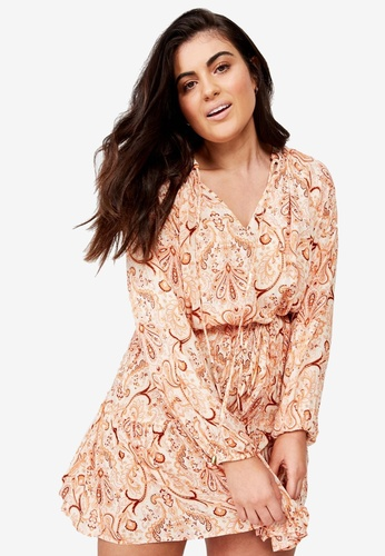 Cotton On brown and gold Curve Woven Lacy Long Sleeve Dress 79047AAC242C12GS_1