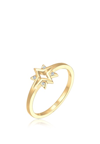 ELLI GERMANY gold Ring Stars Starburst Crystals Gold Plated 1A8F4ACC6E12E4GS_1