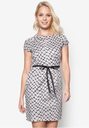 esprit outlet尖沙咀格紋繫帶蓋袖洋裝, 服飾, 洋裝