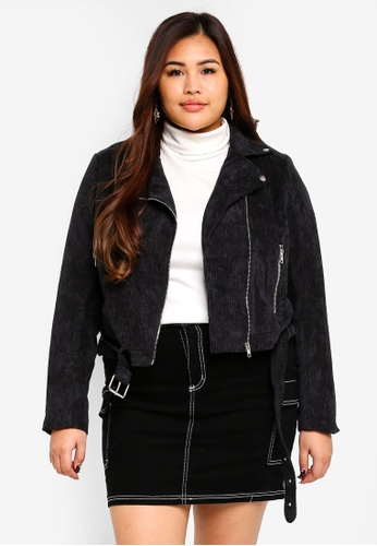 MISSGUIDED black Plus Size Cord Aviator Jacket A0B4CAA219CDD0GS_1