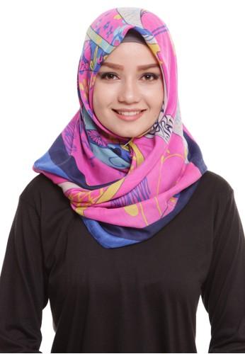 Mybamus Ethnic Square Hijab Viscose Pink - Navy