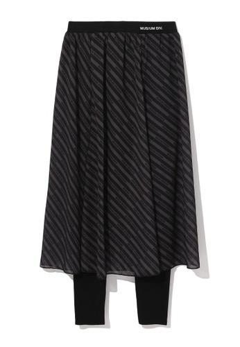 MUSIUM DIV black Stripe layered leggings 8E1ABAA4CA3864GS_1