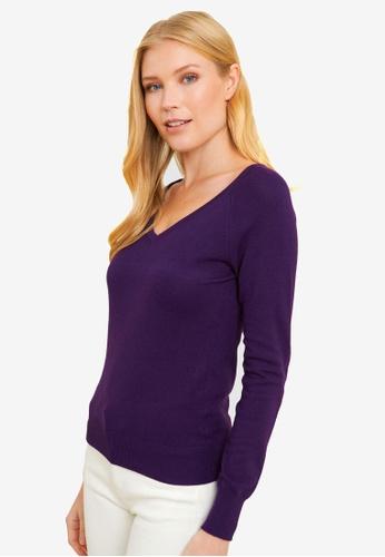 FORCAST purple Chrissy V-Neck Knit 26AC0AA6CFF8D3GS_1