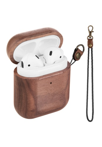 Kings Collection brown Walnut Wood AirPods Case (KCW2114) C2516AC019A78BGS_1