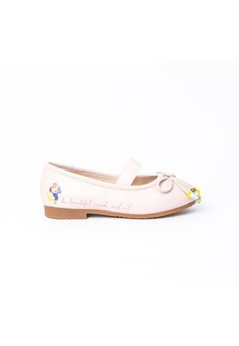 Elisa Litz 粉紅色 BELLE公主平底鞋 - 儿童 - 粉色 D3984KS994B579GS_1