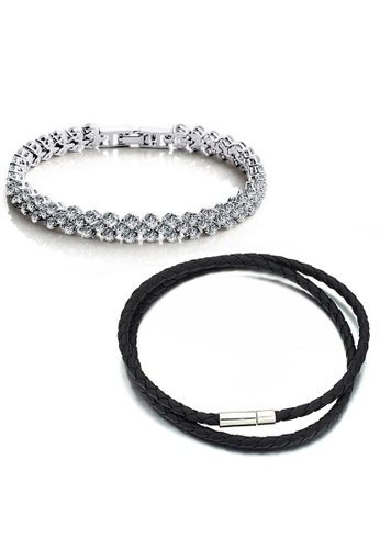 YOUNIQ silver YOUNIQ Dazzling Platinum Silver Bracelet & Duo Slim Steel Genuine Leather Bracelet (Couple Set) BC2F0ACE81EBC1GS_1