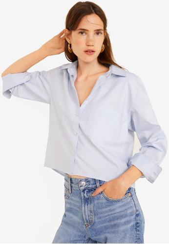 Mango blue Cropped Cotton Shirt 2B06FAA8EE4A7CGS_1