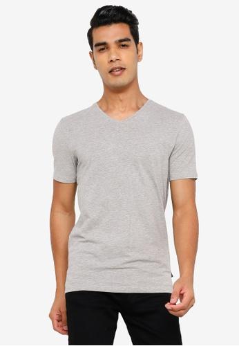 Springfield grey Slim V-Neck T-Shirt 4BF78AA1AA90C2GS_1