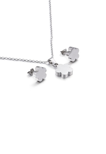 Glamorousky silver Fashion and Simple Flower 316L Stainless Steel Necklace and Stud Earrings Set 10B87ACC4F46FAGS_1
