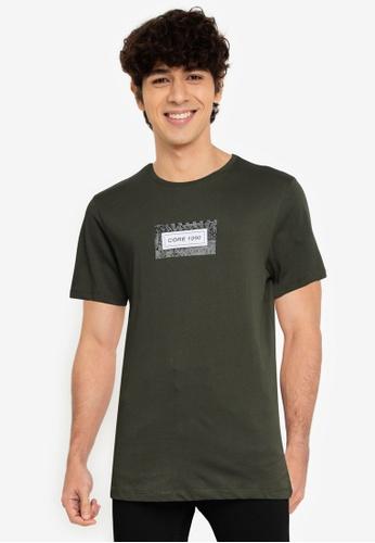 Jack & Jones 綠色 Leaf 短袖 圓領T恤 B0C66AA4C42363GS_1