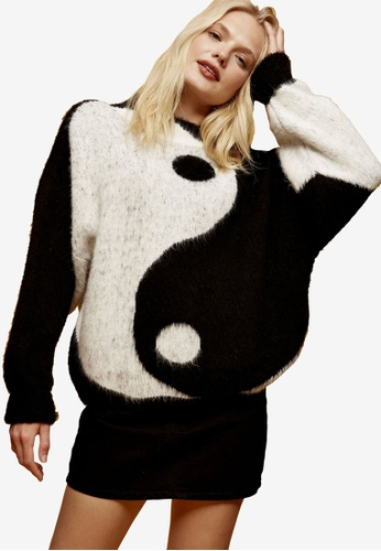 TOPSHOP multi Yin Yang Oversized Knitted Jumper 9E756AA76AD317GS_1