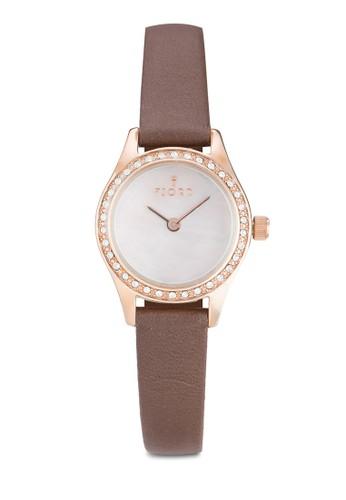 MARINA 金屬esprit地址皮革水鑽圓錶, 錶類, 飾品配件