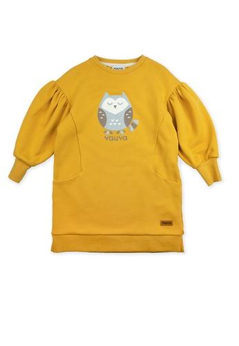 Vauva yellow Vauva Girls Sleeping Owl Puff Sleeves Sweatshirt - Yellow A7B75KA6AA6A22GS_1