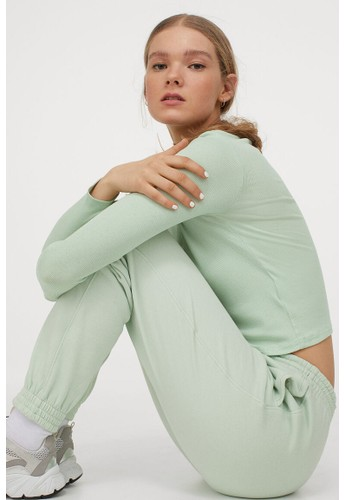 H&M green Stand-up collar top 1A8F7AAEAE6D45GS_1