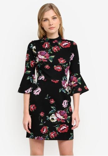 WAREHOUSE black and multi Country Rose Ponte Dress WA653AA0S23CMY_1