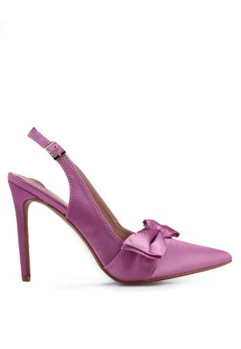 Velvet pink Satin Bow High Heels 2AB89SHEB742D6GS_1