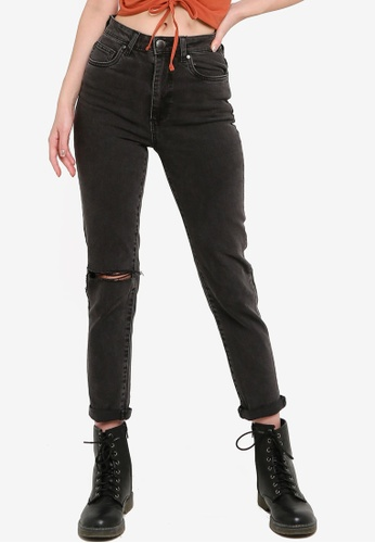 Cotton On black Stretch Mom Jeans 4F41FAA36D80D6GS_1