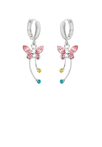 Glamorousky silver Spread Wings Butterfly Earrings with Multi-colour Austrian Element Crystals and Crystal Glass 7FDA0ACB5A0A26GS_1
