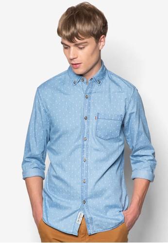 Drake Chambray 點點esprit旗艦店長袖襯衫, 服飾, 襯衫
