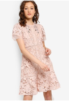 7e8bd37e2f4 French Connection pink Chante Lace Embellished Short Sleeve Dress  65EF4AA27E435BGS_1
