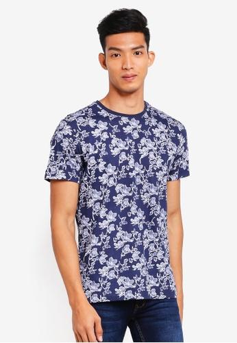 MANGO Man 藍色 花卉T恤 54CF7AA4B20CADGS_1