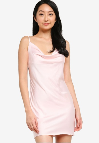 ZALORA BASICS pink Lounge Cowl Neck Slip Dress 2C2A1AAF368A9EGS_1