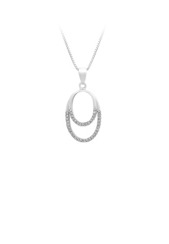 Glamorousky silver 925 Sterling Silver Oval Pendant with White Cubic Zircon and Necklace E4534ACC2F670BGS_1