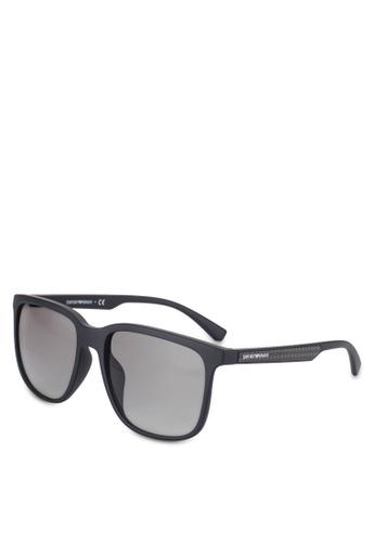 Emporio Armani black Black Square EA4104F Sunglasses EM212GL58QUJMY_1