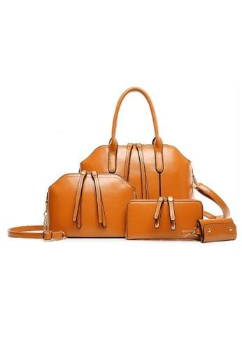 Jackbox brown Set of 4 Artificial Leather Purse Sling Bag Handbag Tote Bag 904 JA762AC43PIEMY_1