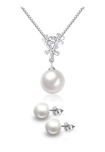 YOUNIQ silver YOUNIQ Pearl Drop 925 Sterling Silver Necklace Pendant & Earrings Set YO999AC54KYZMY_1