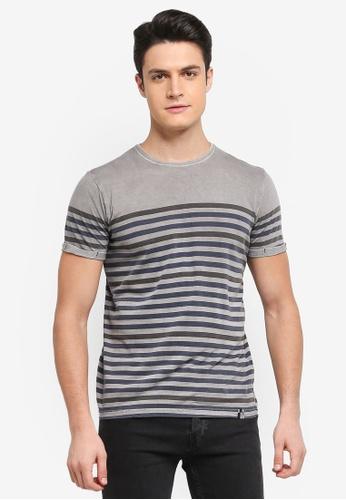 Indicode Jeans 灰色 Kade Striped T-Shirt 4F07BAA55385CDGS_1