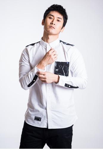 L.I.M.I.T.E 白色 男裝雲石紋拼布牛津紡恤衫 12D49AACAEE0C3GS_1