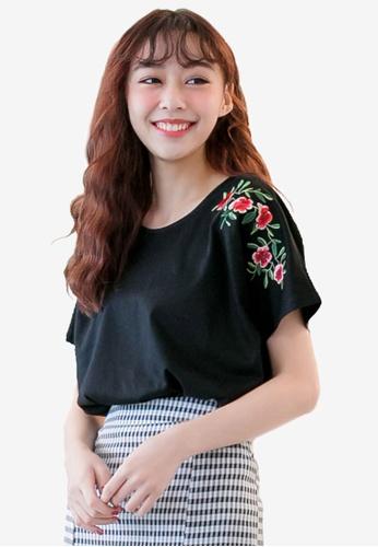 Tokichoi black Floral Embroidery Tee B90FEAA3AD60BFGS_1