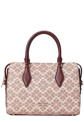 KATE SPADE brown and beige Kate Spade Spade Flower Coated Canvas Casey Medium Satchel Bag in Pink Multi 17227ACAE9649AGS_1