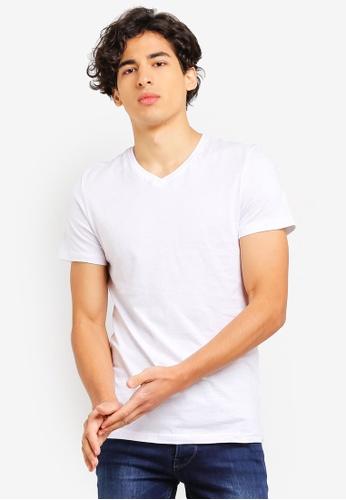 OVS 白色 V領素色T恤 B9F96AAEA03DD5GS_1