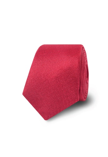 T.M. LEWIN red T.M.Lewin Red Textured Skinny Tie 9AE2DACB2CBB01GS_1