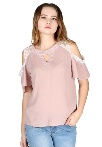 df6010e8274c6f Buy London Rag Pale Mauve Cold Shoulder Top Online on ZALORA Singapore