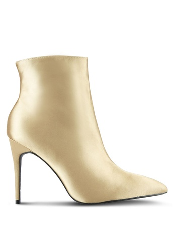Public Desire gold Porter Satin Point Toe Ankle Boots PU378SH0SIP2MY_1