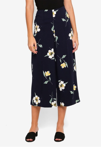 WAREHOUSE multi and navy Buttercup Printed Culottes 343FFAAB40DE85GS_1